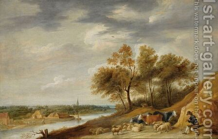 A Panoramic River Landscape With Shepherds Resting With Their Herd On A Bank, With One Shepherd Playing The Flute by (after)  David The Younger Teniers - Reproduction Oil Painting