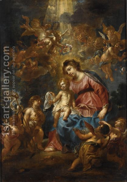 The Madonna And Child With The Infant Saint John, Surrounded By Angels by (after) Cornelius I Schut - Reproduction Oil Painting