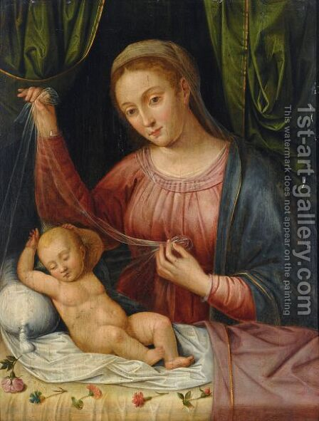 The Virgin And Child, With A Still Life Of Carnations And Roses In The Foreground by Antwerp School - Reproduction Oil Painting