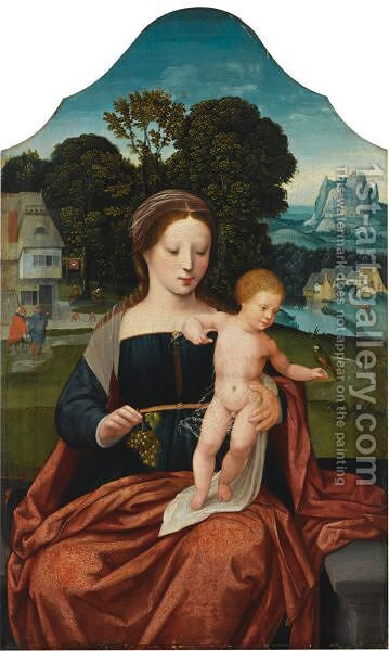 The Virgin And Child, In A Landscape Setting With St Joseph In The Background by Belgian Unknown Masters - Reproduction Oil Painting