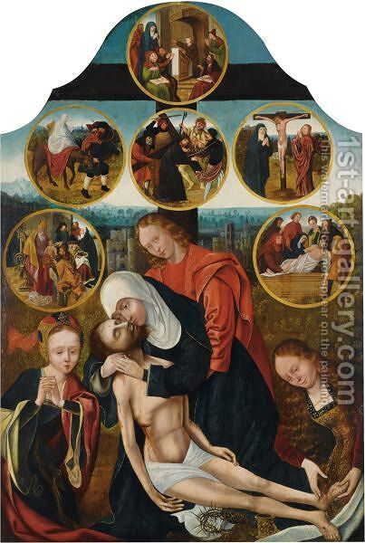 The Seven Sorrows Of The Virgin The Pieta by (after) Quinten Massys - Reproduction Oil Painting