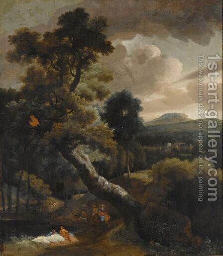 A Wooded Hilly Landscape With Figures Resting Near A Stream, Horsemen On A Path Nearby, A View Of A Town Beyond by (after) Jacob Esselens - Reproduction Oil Painting