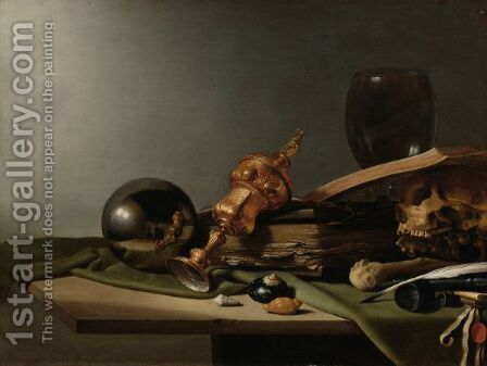 A Vanitas Still Life With A Silver-Gilt Cup, Shells, Books, A Quill, An Inkwell, A Skull by (after) Pieter Claesz - Reproduction Oil Painting