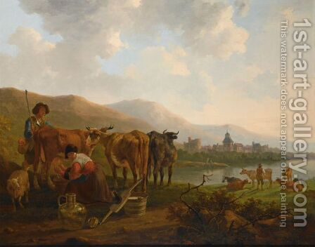 A River Landscape With A Shepherd And His Cattle Together With A Milkmaid Milking A Cow, A Town Beyond by Jacob van Strij - Reproduction Oil Painting