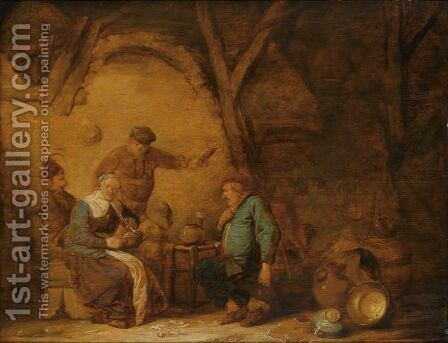 Peasants Smoking And Drinking In An Inn, A Still Life Of Earthenware Pots And A Copper Bowl To The Right by Benjamin Gerritsz. Cuyp - Reproduction Oil Painting