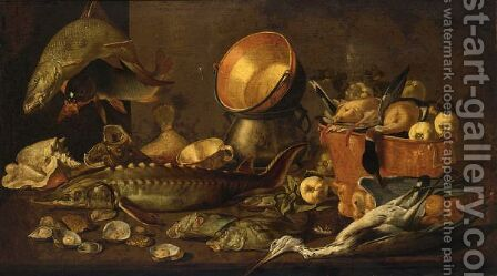 A Still Life With A Sturgeon, A Carp And Other Fresh-Water by Dirck Govertsz - Reproduction Oil Painting