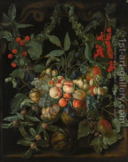 A Still Life With A Garland Of Peaches, Pears, Melons, Plums, Apricots, Grapes, Apples, Berries And Cherries by Jan van Kessel - Reproduction Oil Painting