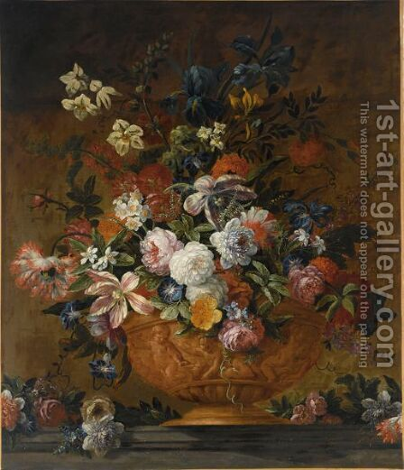 A Still Life With Roses, Tulips, Irisses, Poppy Anemones, Auricula, Hyacinths And Other Flowers, All In A Terracotta Sculpted Vase by (after) Jean-Baptiste Monnoyer - Reproduction Oil Painting
