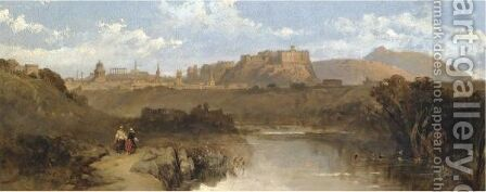 Distant View Of Edinburgh by David Roberts - Reproduction Oil Painting