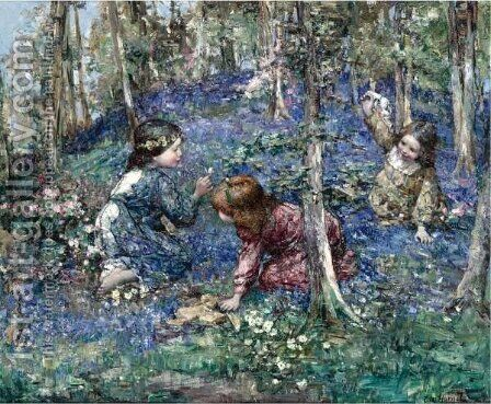 The Bluebell Wood by Edward Atkinson Hornel - Reproduction Oil Painting