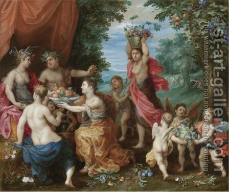 A Bacchanal With Ceres, Bacchus And Venus by Jan, the Younger Brueghel - Reproduction Oil Painting