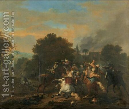 A Cavalry Skirmish Between Turks And Christians In A Wooded Landscape by Jan von Huchtenburgh - Reproduction Oil Painting