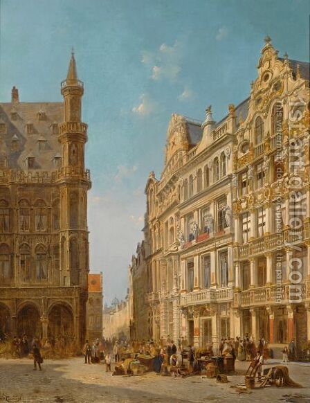 Many Figures At An Auction On The Grande Place In Brussels by Jacques Carabain - Reproduction Oil Painting