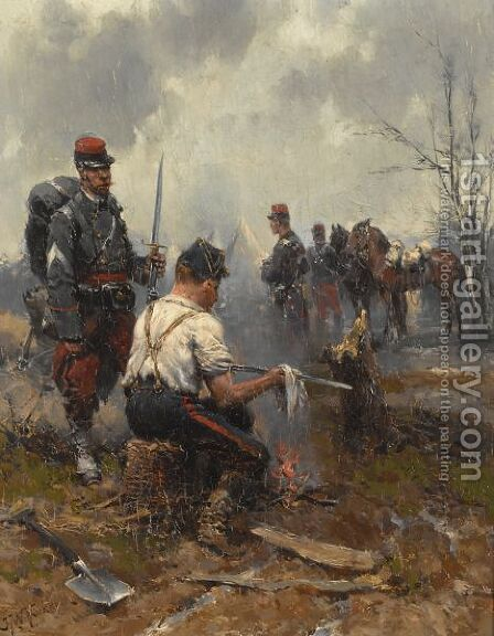 Cleaning The Swords by Hermanus Koekkoek - Reproduction Oil Painting