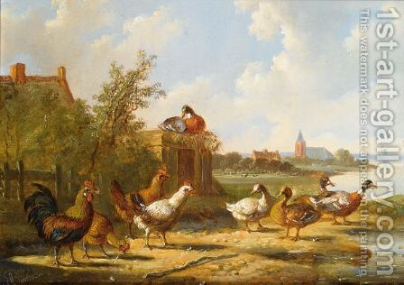 Poultry In A Summer Landscape 2 by Albertus Verhoesen - Reproduction Oil Painting