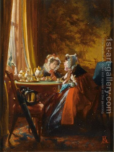 'Deux Vieilles Amies S'Entretenant' by Alexander Hugo Bakker Korff - Reproduction Oil Painting