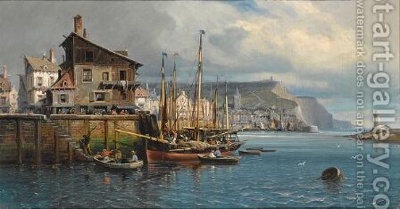 Many Figures In The Harbour Of A Coastal Town by Charles Euphraisie Kuwasseg - Reproduction Oil Painting