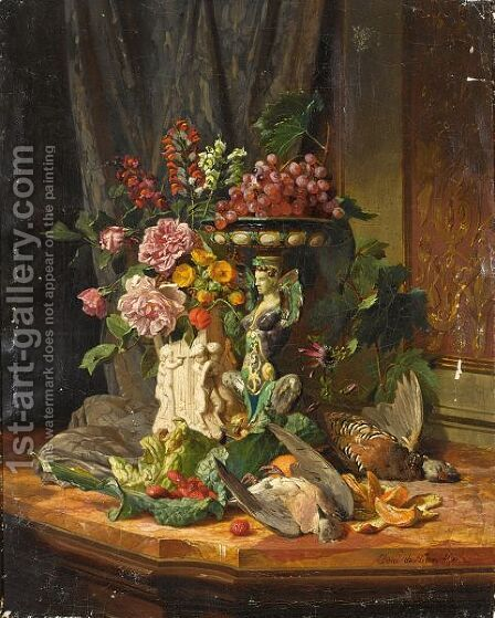 A Still Life With Flowers, Fruit And Game by David Emil Joseph de Noter - Reproduction Oil Painting