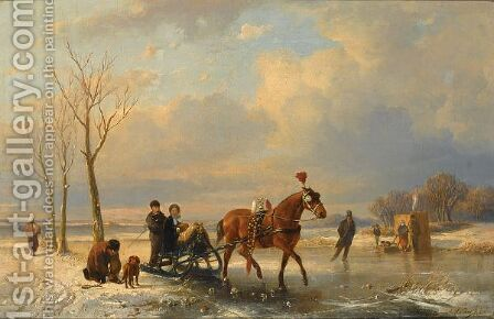A Winter Landscape With  Figures On A Sleigh, A 'Koek En Zopie' In The Background by Anton Mauve - Reproduction Oil Painting