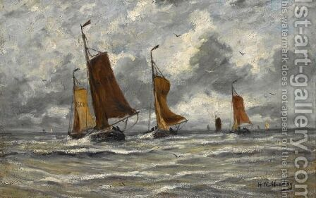 Ships At Full Sea by Hendrik Willem Mesdag - Reproduction Oil Painting