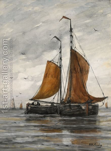 Bomschuiten On A Calm Sea by Hendrik Willem Mesdag - Reproduction Oil Painting