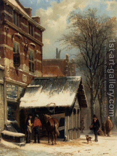 The Smithy Of Culemborg In Winter Time by Cornelis Springer - Reproduction Oil Painting