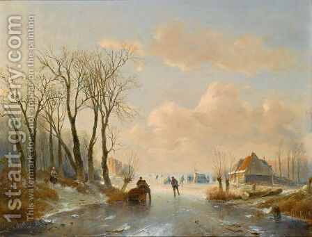 Skaters On The Ice, A 'Koek En Zopie' In The Distance by Andreas Schelfhout - Reproduction Oil Painting