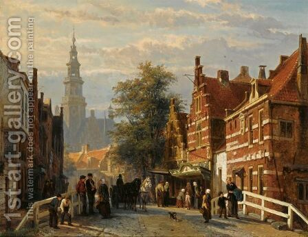 Gezicht Achter Het Stadhuis Te Bolsward  (A View Of Bolsward With The Townhall In The Distance) by Cornelis Springer - Reproduction Oil Painting