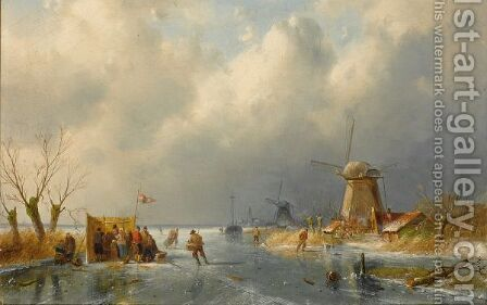 Skaters Near A 'Koek En Zopie' by Charles Henri Leickert - Reproduction Oil Painting