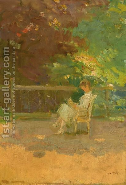 A Woman Reading In A Garden by Isaac Israels - Reproduction Oil Painting