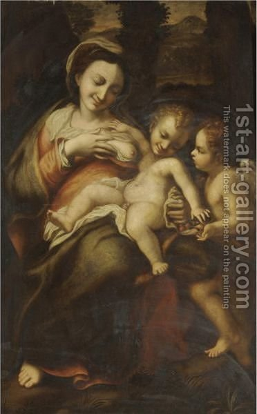 The Madonna And Child With The Infant Saint John The Baptist 3 by (after) Correggio, (Antonio Allegri) - Reproduction Oil Painting