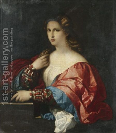 Portrait Of A Young Woman, Half Length by (after) Jacopo D'Antonio Negretti (see Palma Giovane) - Reproduction Oil Painting