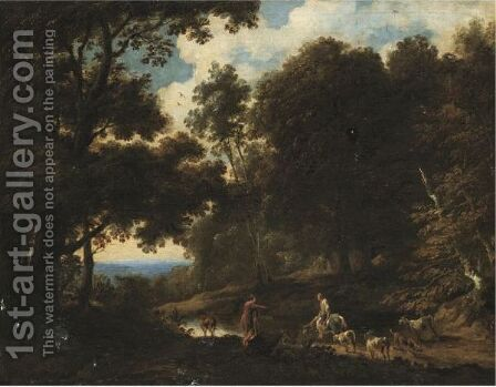 A Wooded Landscape With Drovers Watering Their Herd by Cornelis de Bie - Reproduction Oil Painting