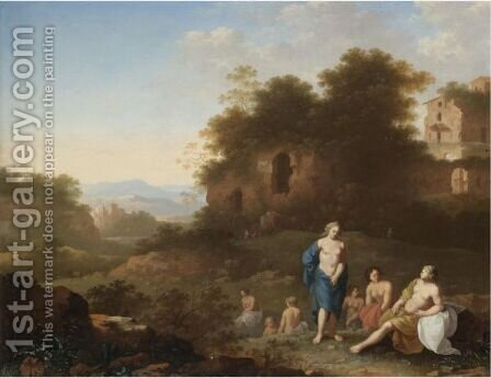 Diana And Her Nymphs Resting In An Italianate Landscape by Jan van Haensbergen - Reproduction Oil Painting