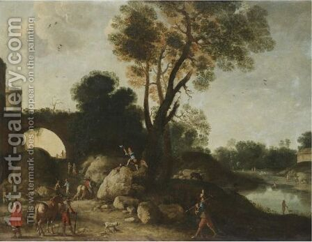 A Classical Landscape With Cavaliers In The Foreground, A Woodcutter Felling A Tree Beyond by (after) Filippo (Il Napoletano) D'Angeli - Reproduction Oil Painting