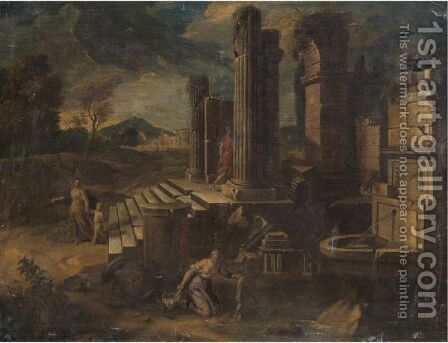 A Capriccio Scene With Figures Amongst Classical Ruins by (after) Viviano Codazzi - Reproduction Oil Painting