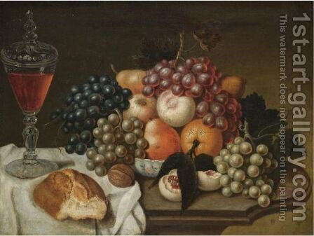 A Still Life With Grapes, Peaches, An Orange, A Bun And A Glass Of Win On A Table by (after) William Sartorius - Reproduction Oil Painting