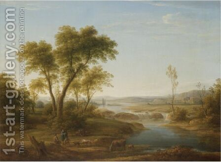 A Classical River Landscape With Herdsmen Conversing In The Foreground by (after) Hendrik Frans Van Lint (Studio Lo) - Reproduction Oil Painting