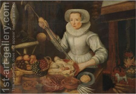 A Maid In A Kitchen Interior by (after) Joachim Beuckelaer - Reproduction Oil Painting