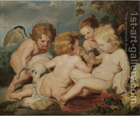 The Christ Child With The Infant Saint John The Baptist And Putti In A Landscape by (after) Sir Peter Paul Rubens - Reproduction Oil Painting