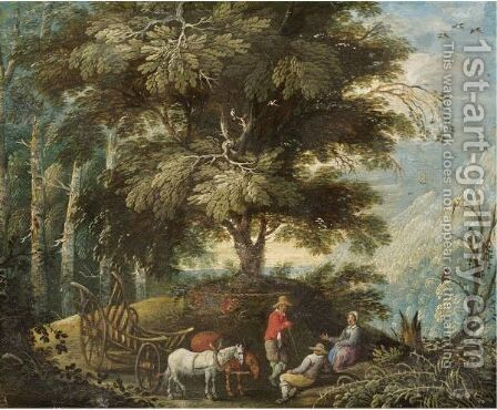 A Mountainous Landscape With Figures Resting On A Path Beside A Wagon by (after) Mattheus Adolfsz Molanus - Reproduction Oil Painting