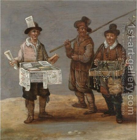 A Pamphlet Seller And A Pilgrim Together With A Merchant Hawking Religious Trinkets by (after) Sebastian Vrancx - Reproduction Oil Painting