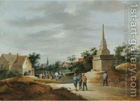 A Village Scene With Boors Conversing In The Foreground And Figures Dancing In The Background by (after)  David The Younger Teniers - Reproduction Oil Painting