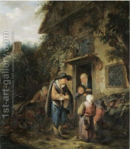 The Exterior Of A Cottage With Peasants Conversing At A Doorway by (after) Adriaen Jansz. Van Ostade - Reproduction Oil Painting