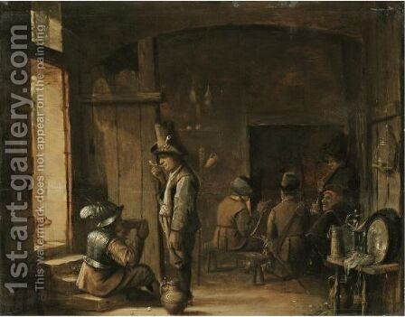 A Tavern Interior With A Soldier Sitting And Drinking Beside A Boor Smoking A Pipe by Antwerp School - Reproduction Oil Painting