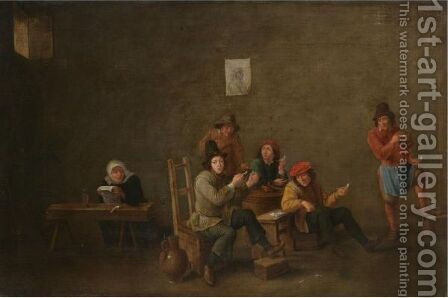 Peasants Smoking Pipes And Drinking In An Interior by (after)  David The Younger Teniers - Reproduction Oil Painting