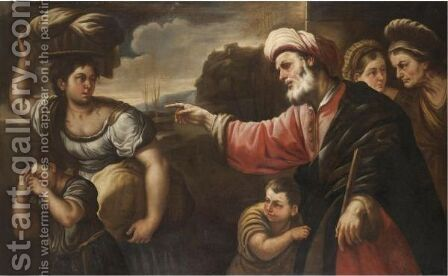 Abraham Bannishing Hagar And Ishmael by (after) Luca Giordano - Reproduction Oil Painting