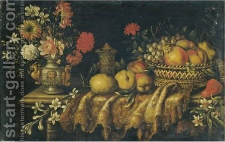 A Still Life With Grapes And Peaches In A Basket, A Pear And Various Other Fruits And Orange Blossom by (after) Antonio The Younger Gianlisi - Reproduction Oil Painting
