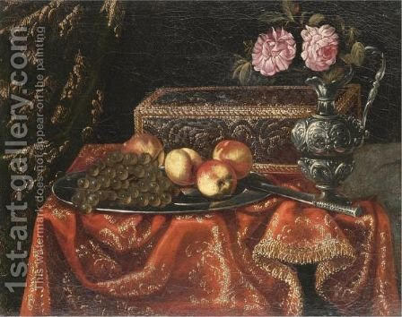A Still Life With Grapes And Peaches On A Pewter Plate, Together With An Inlaid Coffer And Roses by (after) Antonio The Younger Gianlisi - Reproduction Oil Painting