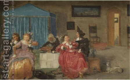 A Brothel Scene With Elegant Figures Carousing by Dutch School - Reproduction Oil Painting